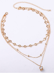 Multilayer Clavicle Imitated Crystal Pendant Necklace