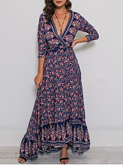 Surplice  Printed Fashion Date Maxi Dress