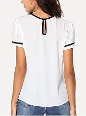 Summer  Polyester  Women  Round Neck  Contrast Piping  Plain  Short Sleeve Blouses