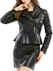 Fold-Over-Collar-Flounce-Zips-Tiered-Plain-Jackets