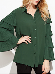 Autumn Spring  Polyester  Women  Single Breasted  Plain  Bell Sleeve  Long Sleeve Blouses