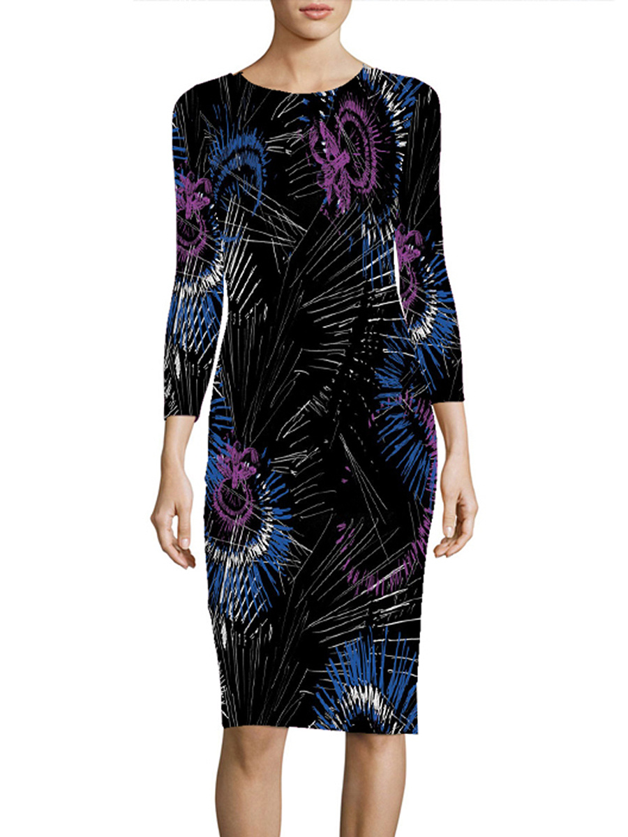 Abstract Print Round Neck Slit Bodycon Dress