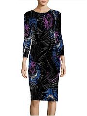 Abstract-Print-Round-Neck-Slit-Bodycon-Dress
