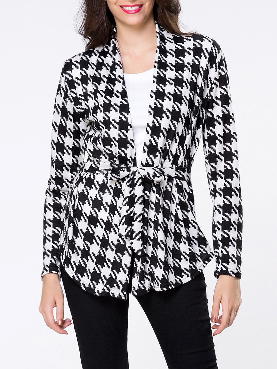 Collarless Houndstooth Bowknot Cardigan