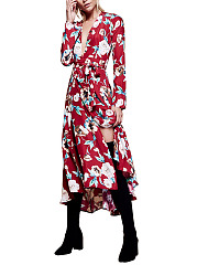 V-Neck  Belt  Floral Maxi Dress