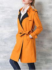 V-Neck-Slit-Belt-Plain-Coats