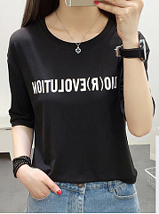 Spring Summer  Polyester  Women  Round Neck  Letters Short Sleeve T-Shirts