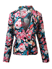 Notch Lapel  Single Button  Printed  Long Sleeve Blazers