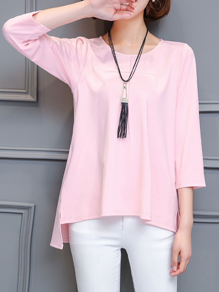 Solid High-Low Necklace Long Sleeve T-Shirt