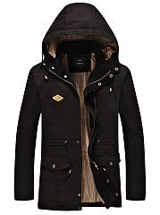 Hooded-Drawstring-Flap-Pocket-Plain-Men-Coat