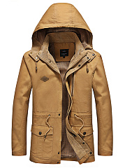 Hooded Drawstring Flap Pocket Plain Men Coat
