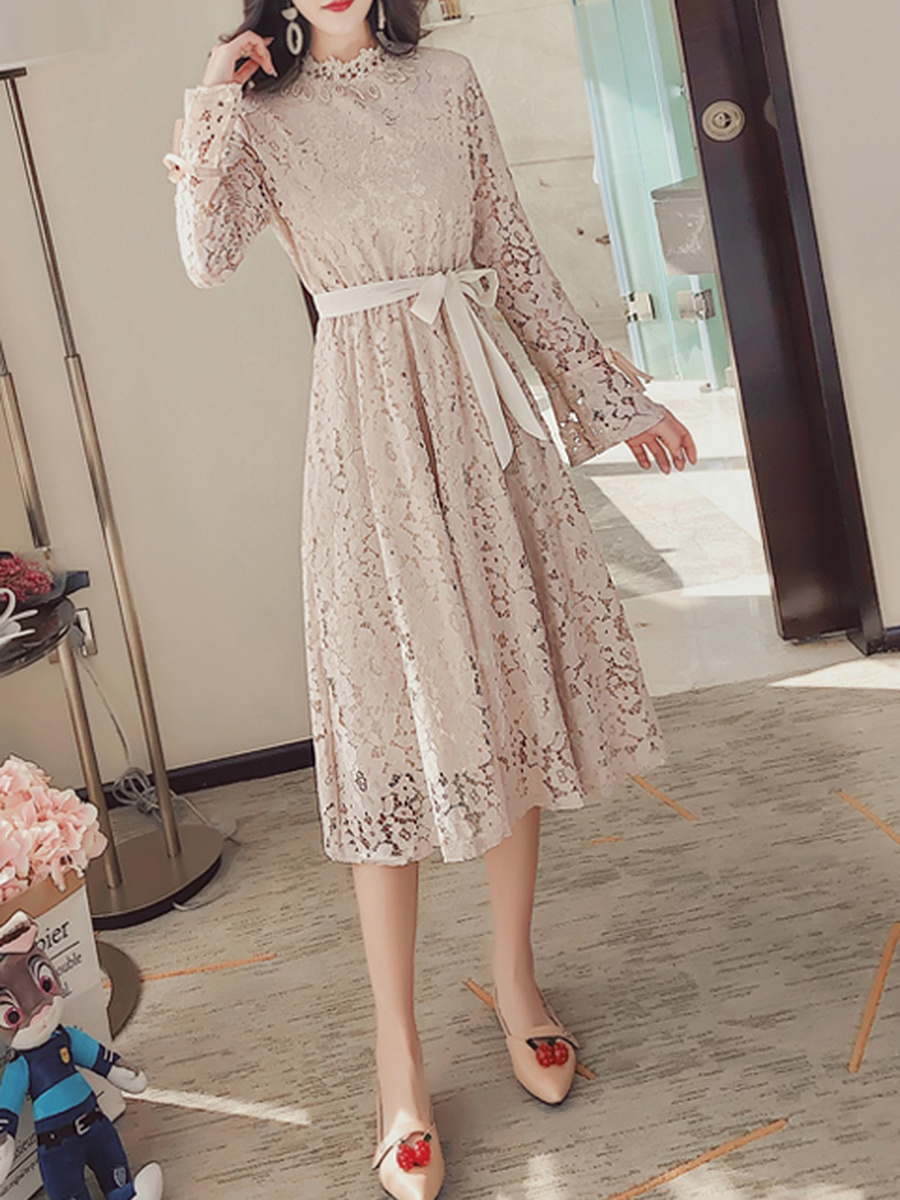 Band Collar  Bowknot  Hollow Out Plain  Lace Maxi Dress
