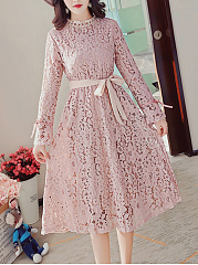 Band-Collar-Bowknot-Hollow-Out-Plain-Lace-Maxi-Dress