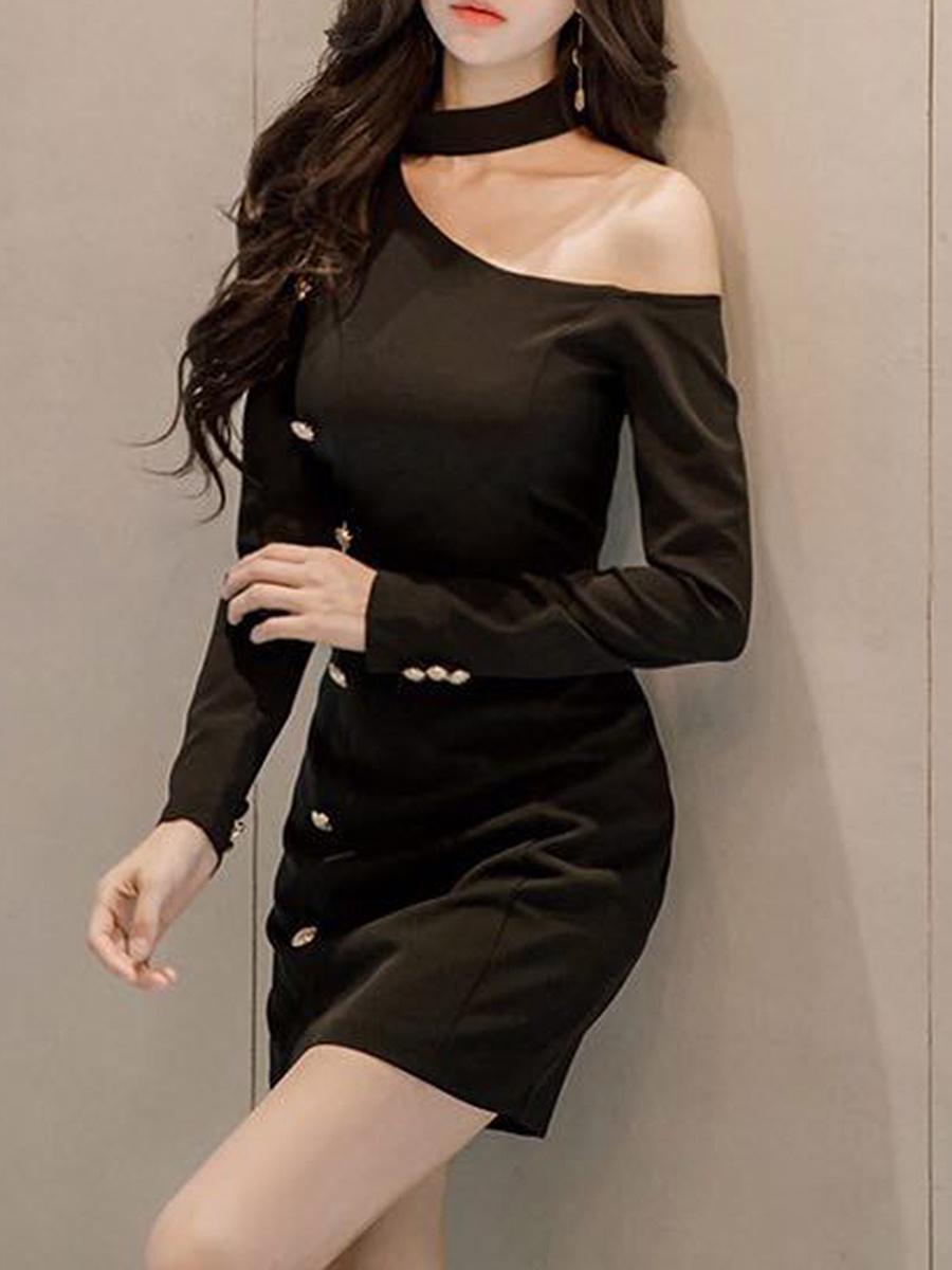 Halter  Plain  Blend Bodycon Dress