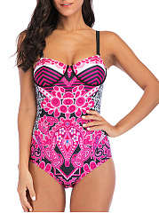 Spaghetti Strap  Printed One Piece Swimwear