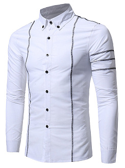 Contrast Stitching Button Down Collar Men Shirts