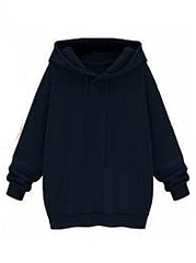 Hooded  Drawstring Slit Pocket  Plain  Long Sleeve Hoodies
