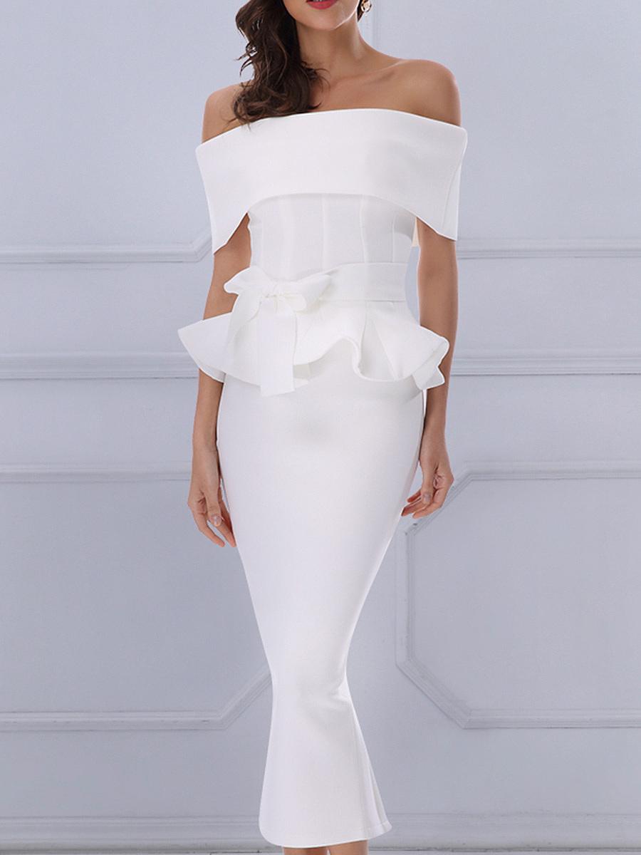 Open Shoulder  Plain  Blend Bodycon Dress