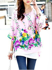 Floral-Printed-Batwing-Sleeve-Tunic