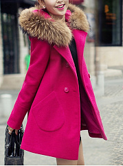 Hooded-Double-Breasted-Patch-Pocket-Plain-Woolen-Coat