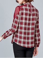 Autumn Spring  Cotton Polyester  Women  Round Neck  Plaid  Long Sleeve Blouses