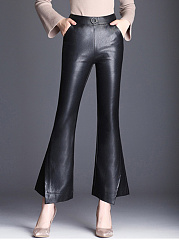 Black-Elastic-Waist-PU-Leather-Flared-Pants