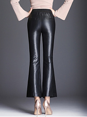 Black Elastic Waist PU Leather Flared Pants