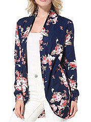 Fold-Over Collar  Floral Printed  Long Sleeve Cardigans