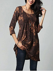 Round Neck  Floral  Half Sleeve Casual T-Shirts