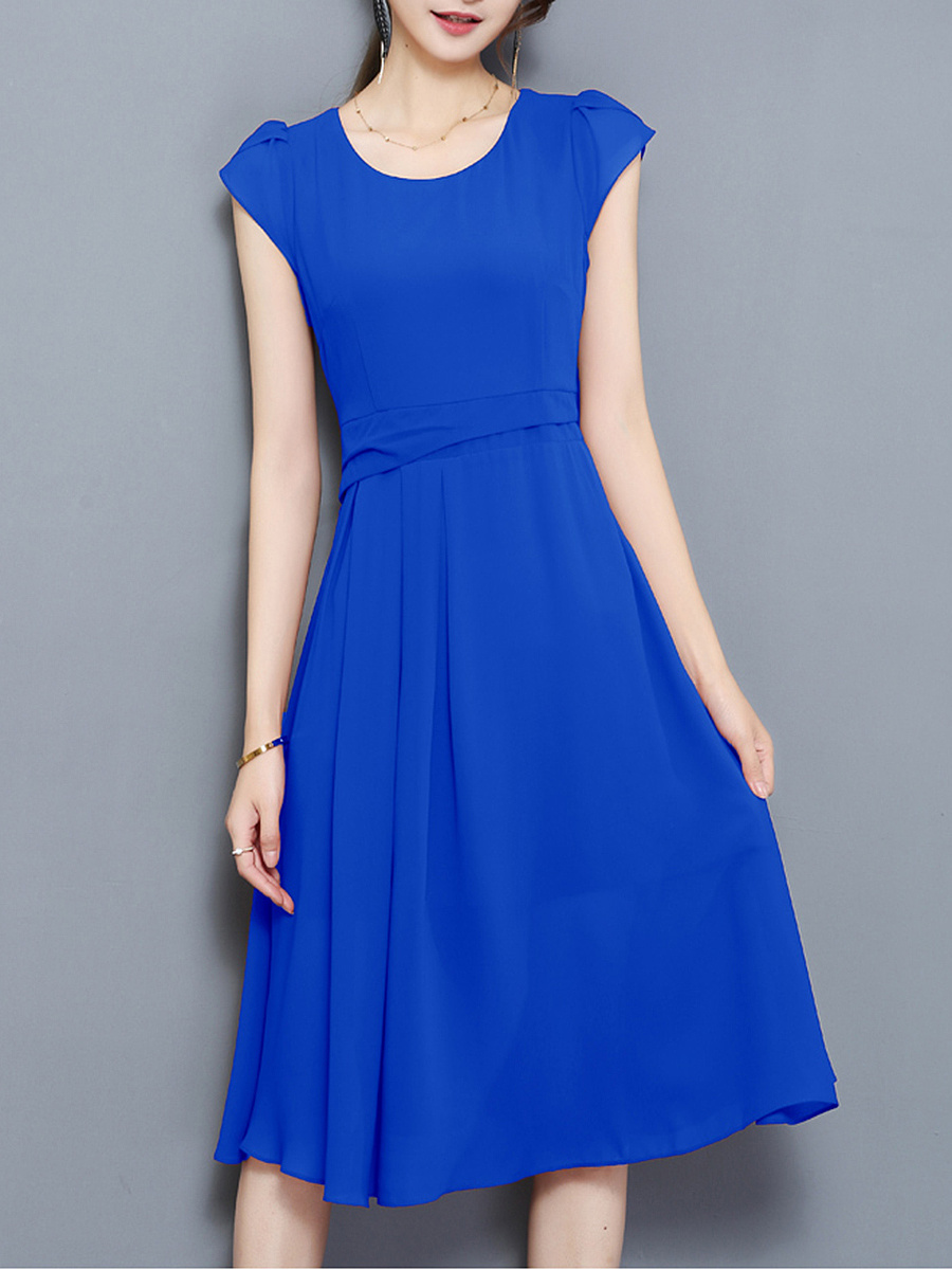 Petal Sleeve Plain Round Neck Chiffon Midi Skater Dress