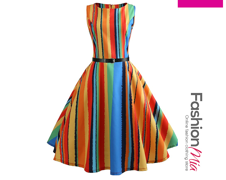 Contrast Piping  Colouring Striped Dresses