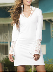 Hooded  Decorative Lace  Hollow Out Shift Dress