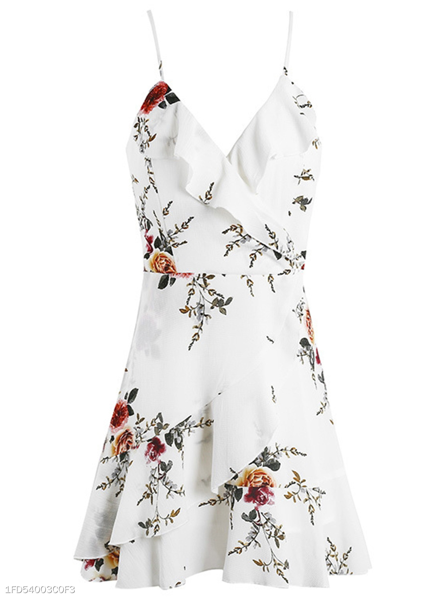Spaghetti Strap Flounce Lace-Up Floral Printed Mini Skater Dress