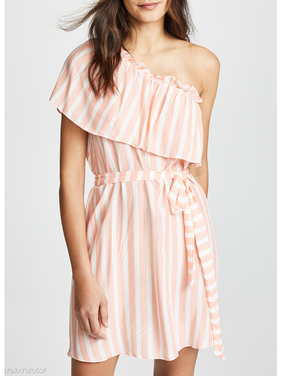 Open Shoulder  Flounce  Striped Skater Dress