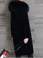 Hooded  Single Breasted Slit Pocket  Plain  Long Sleeve Coats