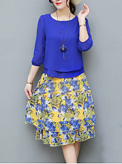 Chiffon-Round-Neck-Blouse-And-Printed-Midi-Skirt
