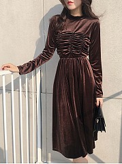 Band Collar  Ruched  Plain  Velvet Midi Skater Dress