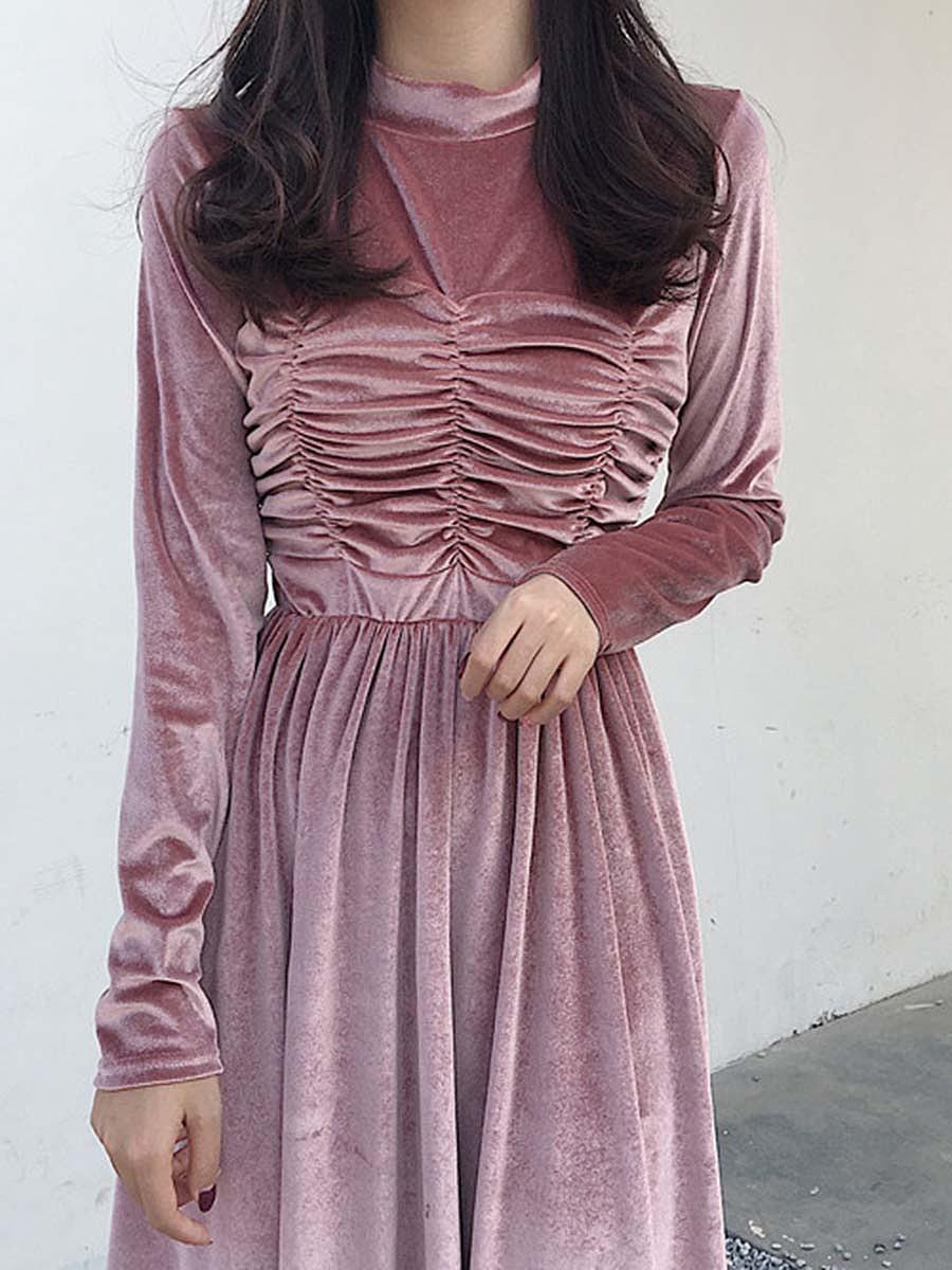 Band Collar  Ruched  Plain  Velvet Midi Skater Dress