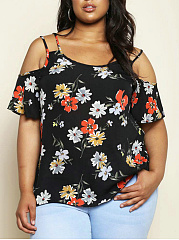 Open Shoulder  Floral Plus Size T-Shirts