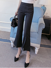Plain-Crop-Flared-Casual-Pants
