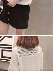 Round Neck  Hollow Out Plain  Three-Quarter Sleeve Sweaters Pullover