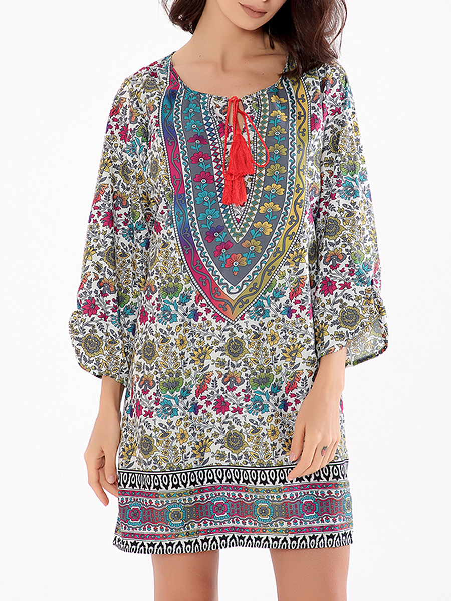 Tie Collar  Tribal Printed Colorful Shift Dress