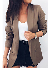 Narrow Notch Lapel  Flap Pocket  Plain Blazers