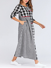 Round Neck  Plaid Casual Maxi Dress