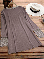 Autumn Spring  Polyester  Women  V-Neck  Decorative Lace  Plain Long Sleeve T-Shirts