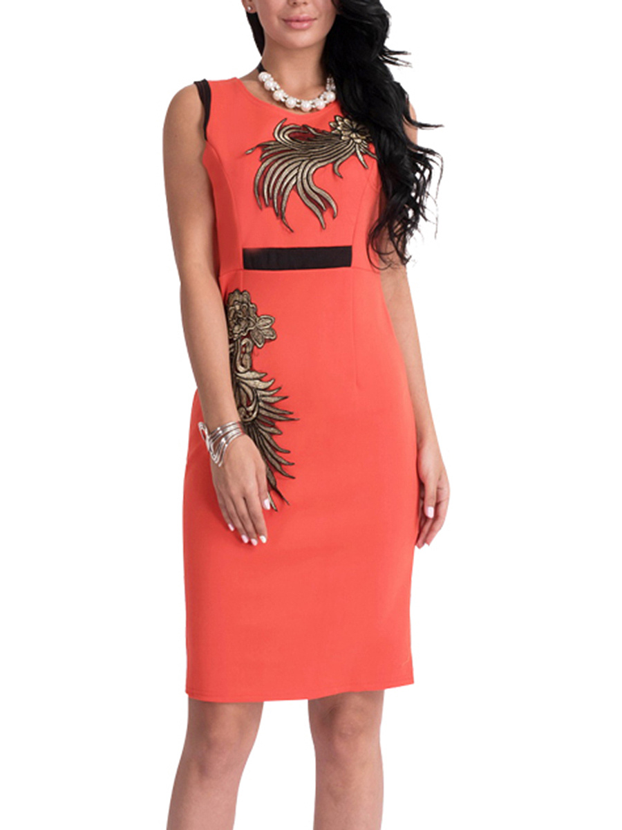 Round Neck  Embroidery  Blend Bodycon Dress