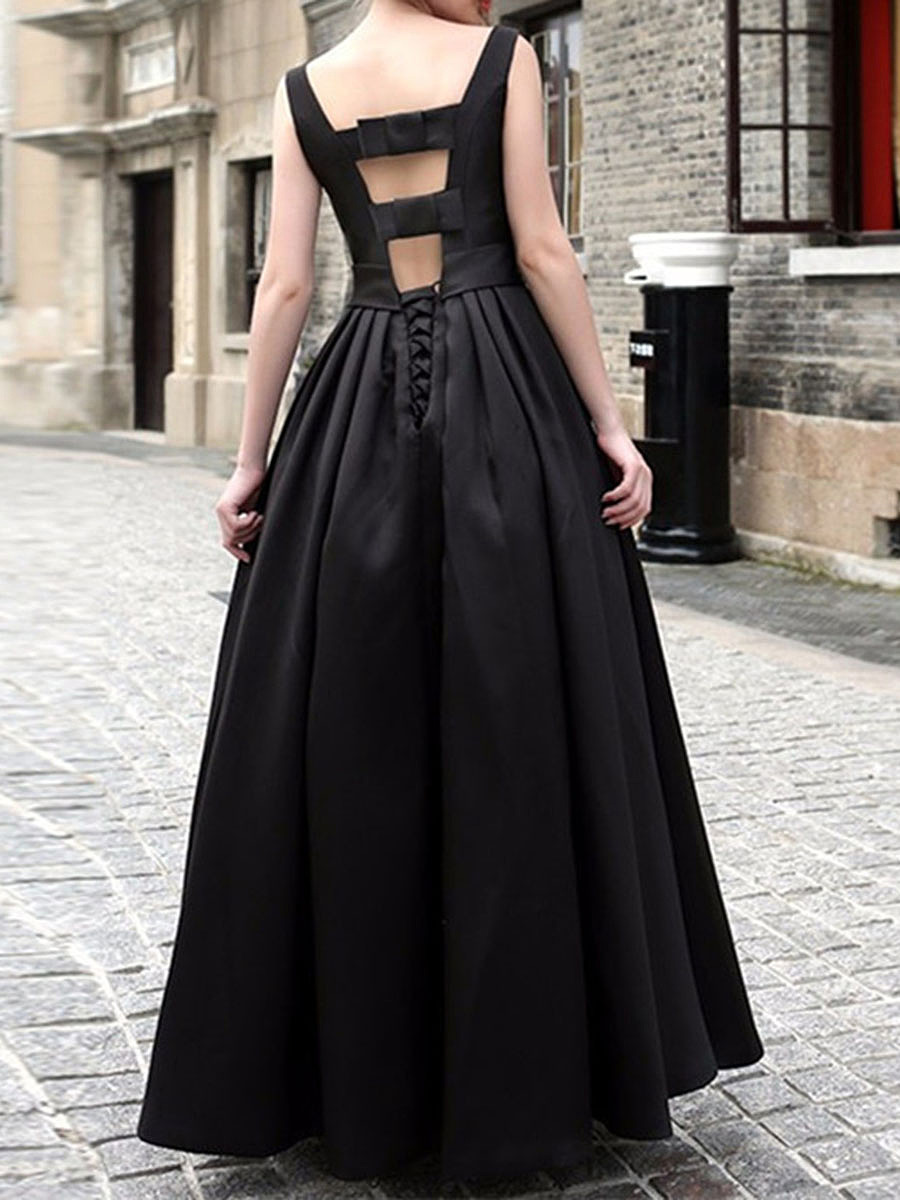 Round Neck Bowknot Plain Evening Dress