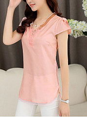 Summer  Chiffon  Women  V-Neck  Asymmetric Hem Patchwork  Decorative Button  Plain  Extra Short Sleeve Blouses