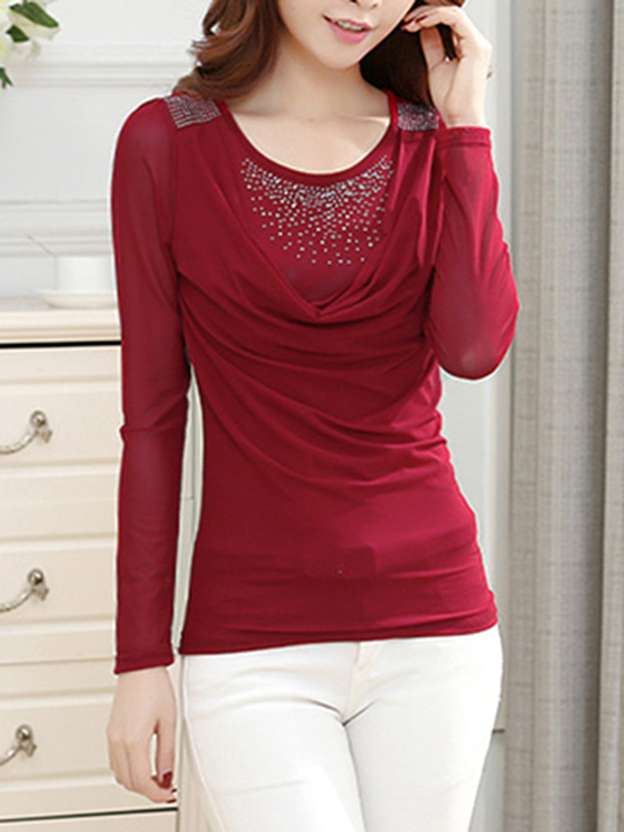 Round Neck Rhinestone Ruched Plain Long Sleeve T-Shirt