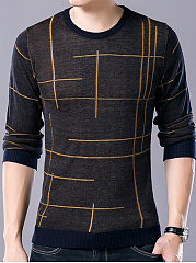 Men Round Neck  Printed Sweater